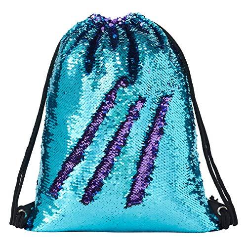 Deeplive fashion mermaid sacca magic reversibile sequin zaino glittering dance bag, borsa per la scuola, sport all' aria aperta per ragazze donne bambini, bluepurple