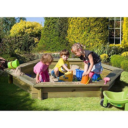 Preisvergleich Produktbild Sandkasten 6-eckig aus Holz mit Abdeckung Plane blau von Gartenpirat®