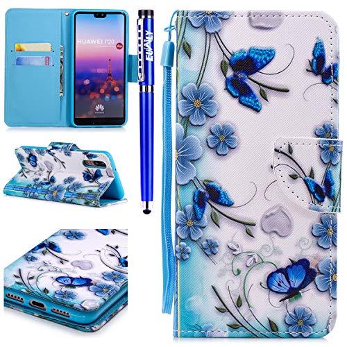 EUWLY Leder Schutzhülle für Huawei P20 Klapphülle Ultra Dünn Bunte Brieftasche Handyhülle Hülle Ledertasche Leder Flip Cover Lederhülle Bookstyle Wallet Case,Schmetterling Blau