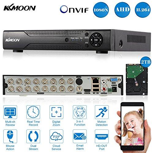 KKmoon DVR 16 Canales Full 1080N/720P AHD HVR NVR HDMI P2P Onvif Grabador de Video + 2TB Disco Duro + Compatible con Android/iOS APP Detección de Movimiento PTZ para 2000TVL Cámara de Vigilancia CCTV
