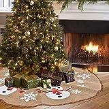 XYJIE GuiHe Weihnachtsbaum Röcke 76cm weiß Schneeflocke, Schneemann rot und grün Karierten Rand Sackleinen Baum Rock Mat Xmas Party Urlaub Dekorationen
