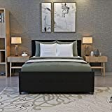 Tuff Concepts Modern Fabric Ottoman Storage Gaslift Bed Frame Double Bed (15Type Black, 4FT6)