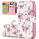 ISAKEN Galaxy S5 Hülle, PU Leder Brieftasche Ledertasche Handyhülle Tasche Case Schutzhülle Hülle Etui mit Standfunktion Karte Halter für Samsung Galaxy S5 Neo - Rose Blumen