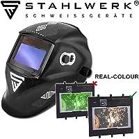 STAHLWERK ST-550L Casque de soudage entièrement automatique, classe optique: 1/1/1/1, avec 5 disques de rechange et sac, 7 ans de garantie sur le filtre