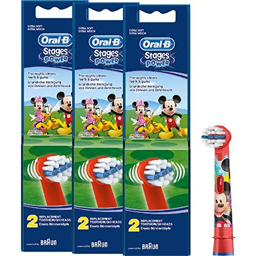 Braun Oral-B Stages Power Kids Aufsteckbürsten Micky Maus 6er Pack Bürstenköpfe Kinder EB10-2K Mickey Mouse