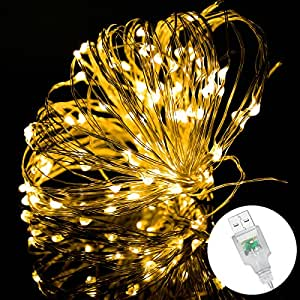 Fairy Lights, Syhonic 10M 100 LED Silver Wire Waterproof Starry String Lights Firefly Lights DIY Decoration for Bedroom Jars Christmas Wedding Party Festival Outdoor Camping - Warm White