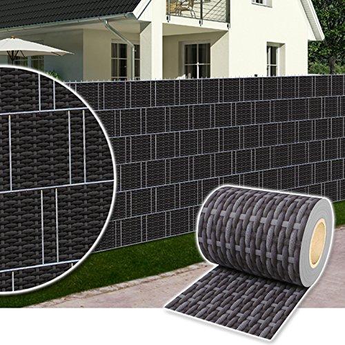 *Plantiflex Sichtschutz Rolle 35m blickdicht PVC Zaunfolie Windschutz für Doppelstabmatten Zaun (Rattan-Anthrazit)*