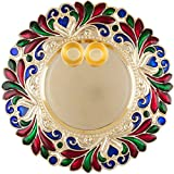 Bombay Haat Designer Golden Puja Thali/Rakhi Platter/Tilak Thali with Two Katoris (Size : 25 cm)