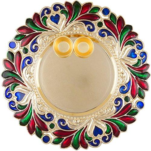 Bombay Haat Designer Golden Puja Thali / Rakhi Platter / Tilak Thali...