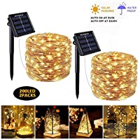 2 Packs Solar String Lights, 200 LED Waterproof Copper Wire Decorative Light for Garden Patio Home Yard Party Wedding Christmas Indoor Outdoor(Warm White)