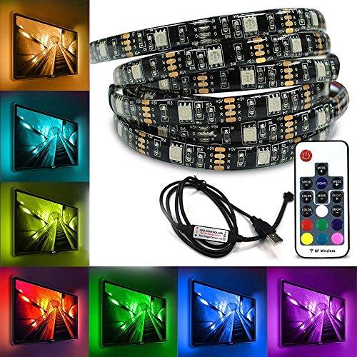 2-taste Kurze (Jindia RGB USB TV Hintergrundbeleuchtung für HDTV / Gaming PC, 2x50cm LED-Lichtleisten Dimmbar mit RF Fernbedienung.)