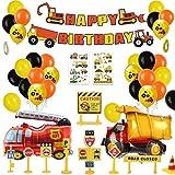 MMTX Decoracion Cumpleaños Globos de Feliz Cumpleaños Primer Cumpleaños Niño 1 año con Guirnalda Cumpleaños, Vehículo Camión Bomberos Globo de Aluminio, Suministros para Fiestas de Construcción(58pcs) Package included: 1 x Construction Happy Birthday...