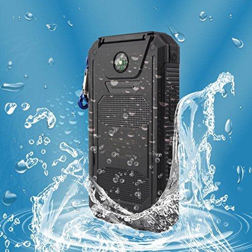 20000mAh Tragbar Wasserdicht Solar Ladegerät Dual USB Externer Akku Power Bank mit LED-Licht Outdoor für Telefon