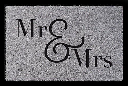 *FUSSMATTE Eingang MR & MRS Geschenk Hochzeit Liebe Türmatte Mann Frau Hellgrau*