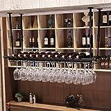 WURE Hängende Eisenstange Weingestell auf Den Kopf Kreative Weingestell Dekoration Boom Teleskop Schwarz, Bronze (60cm, 80cm, 100cm, 120cm, 150cm) (Farbe : Black, Größe : 80cm)