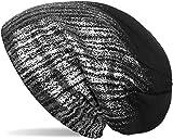 styleBREAKER warme Feinstrick Beanie Mütze mit Metallic Print und Fleece Innenfutter, Slouch Longbeanie, Unisex 04024132, Farbe:Schwarz / Silber