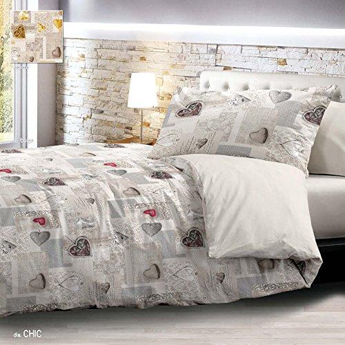 Trapunta Invernale Matrimoniale Shabby Chic Grigio Cuori Cuore 2 piazze 255x265 cm Microfibra Lavabile in Lavatrice