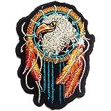 Parches - águila indio atrapasueños - negro - 6x8.4cm - termoadhesivos bordados aplique para ropa