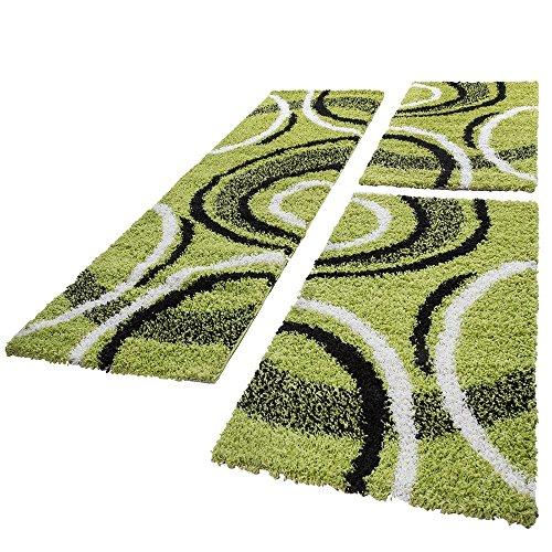 Bettumrandung Läufer Shaggy Hochflor Teppich Gemustert Grün Läuferset 3 Tlg