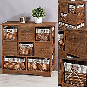 landhaus kommode bad flur regal highboard in antik braun mit 4 rattan k rben. Black Bedroom Furniture Sets. Home Design Ideas
