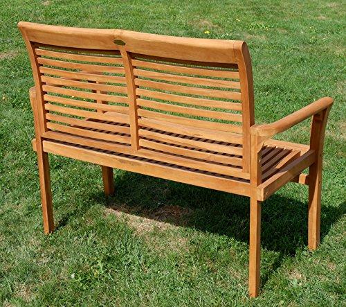 TEAK Design Gartenbank Parkbank Sitzbank 2-Sitzer Bank Gartenmöbel Holz sehr robust Modell: ALPEN120 von AS-S - 3