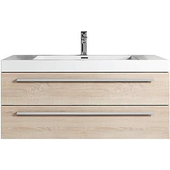 badezimmer badmobel rome 100 cm eiche hell unterschrank schrank waschbecken waschtisch