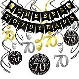 Howaf Kit Decorazione Festa di Compleanno di 70 Anni, Striscione Cheers to 70 Years Compleanno Bandierine Festone Decorazioni Pendenti, 70 Anni Compleanno Party Kit per Donna Uomo