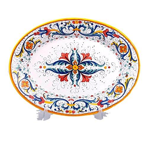 MICHELANGELO Peint à la main, Poterie - Plateau ovale décoration Ricco Deruta en Céramique 42x32 H5 cm (BLEU)