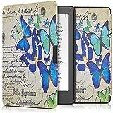 kwmobile Elegante funda de cuero sintético para el > Kobo Aura Edition 2 < en Diseño mariposa letra/carta azul menta beige