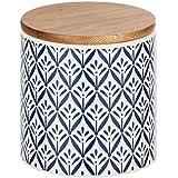 WENKO 54094100 Boîte de Rangement Lorca avec Couvercle en Bambou, Capacité : 0,45 L, Céramique, 10 x 10 x 10 cm, Bleu/ Blanc
