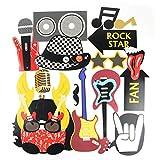 SUNBEAUTY Photobooth Musique Rock Decoration Guitare Accessoire pour Déguisement Masquerade Music Party 18pcs...