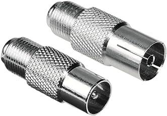 Hama SAT Adapter (F-Kupplung auf Koax-Stecker und F-Kupplung auf Koax-Kupplung) 2er Set (Amazon Frustfreie Verpackung)