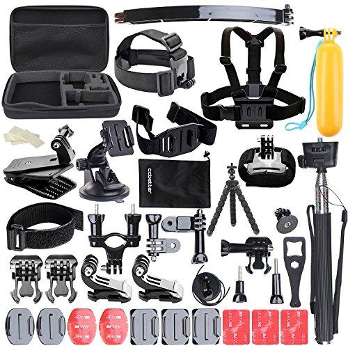 ccbetter Set di 50 Accessori in 1 per macchina fotografica sport GoPro Eroe 4 Sessione Eroe 1 2 3 3 + CS710 CS720W + SJ4000 5000 6000 7000 con valigetta nera