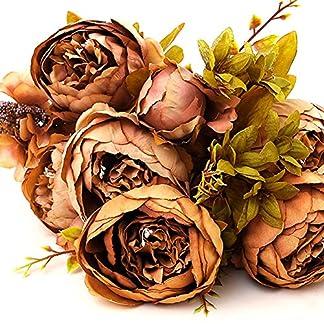 Warmiehomy Flores Artificiales, Flores Artificiales de Seda peonía Novia Ramo para el hogar jardín Fiesta decoración de Boda