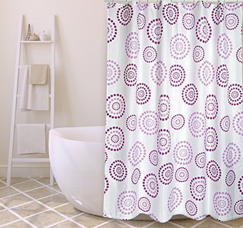 MSV Cotexsa by Premium Anti-Schimmel Textil Duschvorhang - Anti-Bakteriell, waschbar, 100% wasserdicht, mit 12 Duschvorhangringen - Polyester,