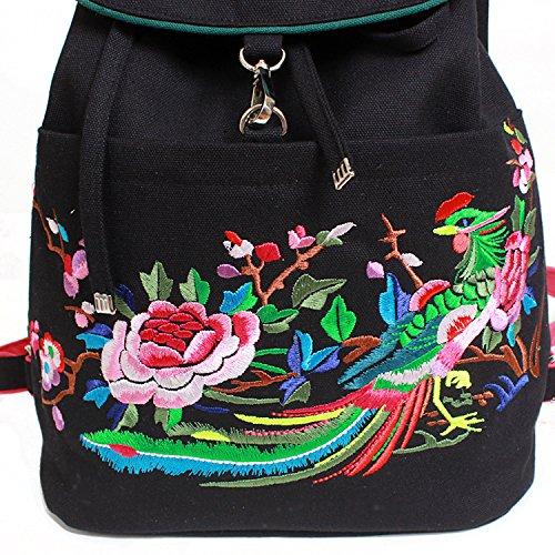 National Wind Kollision Farbe Leinwand Stickerei Phoenix Pfingstrose Greifer Doppel Schulter Pack Rucksack weiblichen Tasche A