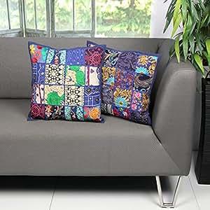 aheli federa copricuscino per divano set di 2casi blu ricamo paillettes patchwork Home Bedding Accessories