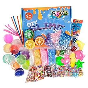 Joyjoz DIY Slime Kit, 12 Arcilla de Cristal Transparente Limo+3 Limo de Fruta with Varias Decoraciones como Bolas Coloridas de Espuma y Polvo Luminoso, Regalo Creativo Juguete para Niños (43 Pz) de Joyjoz