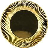 GIRM - B128901 Piatti frutta di plastica oro vortice 6pz. - Piatti frutta o da antipasto oro, piatti plastica, piatti piani oro aspirale, piatti oro, piatti piani frutta gold, piatti gold, piattini