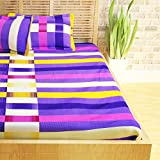 Story@Home 152 TC 100% Cotton Classic Elegant Geometrical Pattern 1 Pc Double Bedsheet with 2 Pillow Covers Purple