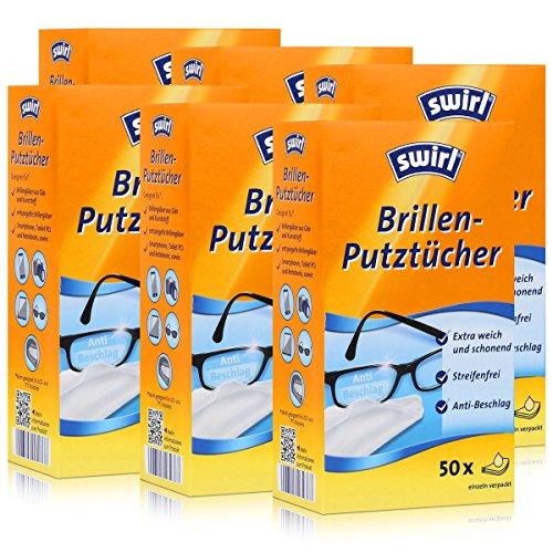Swirl Brillen-Putztücher 50 einzeln verpackte Tücher in Spenderbox - Anti-Beschlag-Effekt - Extra weich und schonend - Fettlösend - Streifenfrei (6er Pack) -