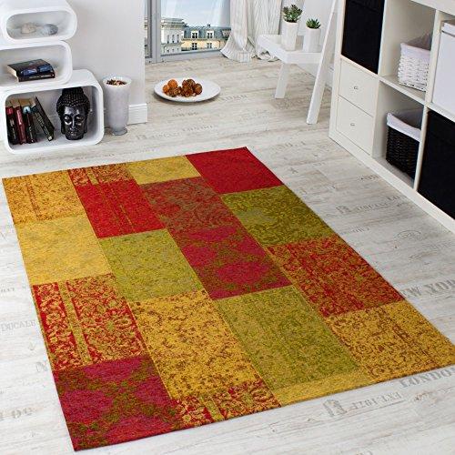 Vintage Teppich -Antik- Multicolor Trendiger Patchwork Stil Kariert Mehrfarbig, Grösse:80x150 cm - Antik-stil Teppich