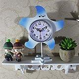 ZO Kreative Single Seestern Ornamente Pendeluhr Studenten Kinder Niedlich Kleine Arbeitszimmer Schlafzimmer Uhren,Blau