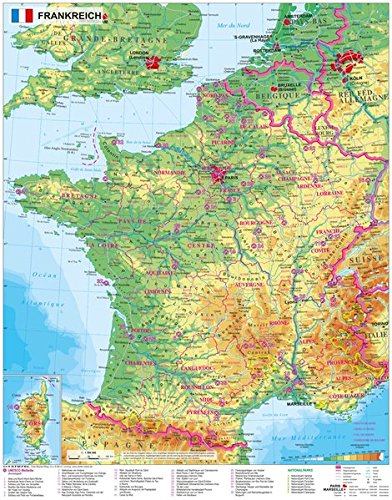 Frankreich physisch - Wandkarte / Poster Karte Von Frankreich