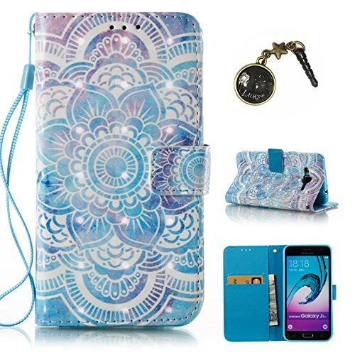 Preisvergleich Produktbild 3D Galaxy J3 J310 (2016) Hülle, PU Leder Hülle für Ledertasche Schutzhülle Case[Stand Feature] Flip Case Cover Etui mit Karte Slots Hülle für Samsung Galaxy J3 J310 +Staubstecker (6)