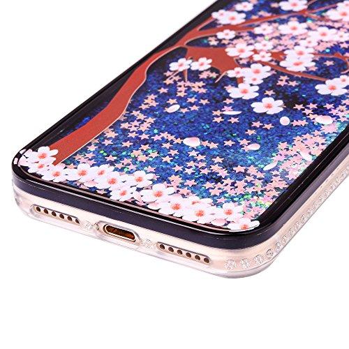 """Coque pour Apple iPhone 7 4.7"""", CLTPY 3D Bord Noir Housse dans Doux Dual Layer Silicone Plastic en Liquide Bling Flash Etui Protection Cristal Case Stars Glitter Sparkles se écoulant Coquille pour iPh Prunier"""