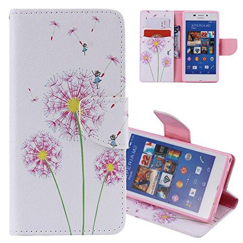 EMAXELERS Sony Xperia M2 Hülle Flip Schale Brieftasche Standfunktion & Karte Halter Etui Kartenfächer Wallet Tasche Etui für Sony Xperia M2,Three Pink Dandelions