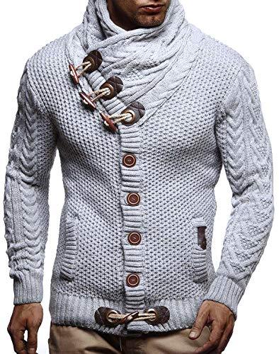 LEIF NELSON Herren Strickjacke Pullover Hoodie Jacke Sweatjacke Sweatshirt Sweater Pulli Winterjacke Freizeitjacke LN4195 (XXX-Large, Grau)