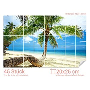 GRAZDesign Fliesenaufkleber Palmen/Strand für Kacheln Bad-Fliesen mit Fliesenbildern überkleben (Fliesenmaß: 20x25cm (BxH)//Bild: 180x120cm (BxH))