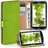 OneFlow Tasche für Samsung Galaxy S3 / S3 Neo Hülle Cover mit Kartenfächern | Flip Case Etui Handyhülle zum Aufklappen | Handytasche Schutzhülle Zubehör Handy Schutz Bumper in Hellgrün